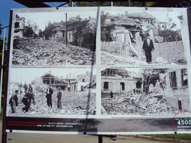 Muestra fotográfica en el Fuerte de Kalemegdan sobre el bombardeo aliado a Belgrado en la II Guerra Mundial (foto propia)