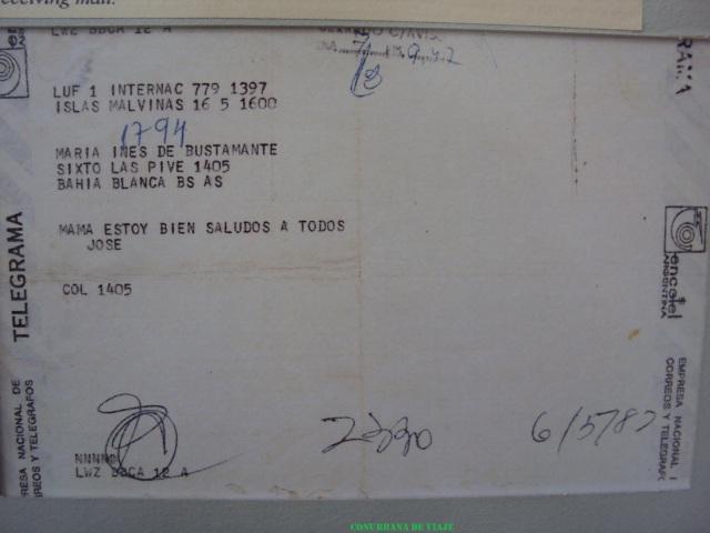 Telegrama de un soldado a su mamá - Museo Naval de Ushuaia