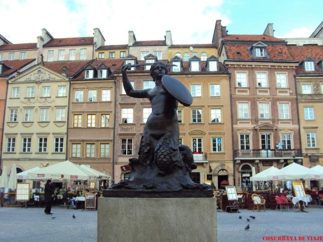 La Sirena, símbolo de Varsovia en la plaza del Mercado Viejo